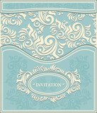 Invitation or Frame in  background in pastel blue