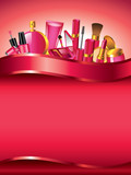 Cosmetics vertical vector background