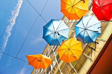 Colorful umbrellas as street decoration