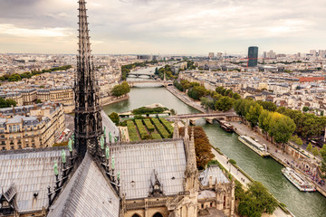 Paris view from tower of Notre Dame cathedral
