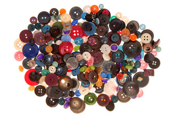 a pile of variegated buttons