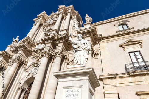 The Cathedral (Duomo) of Ortigia in Syracuse, Sicily, Italy