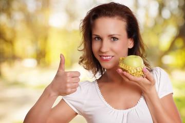 Daumen hoch zur gesunden Ernährung/Diät