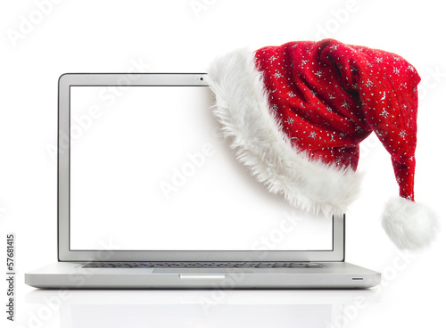santa hat on laptop with clipping path