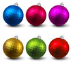 Set of textured realistic christmas balls.