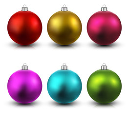 Set of realistic christmas balls.