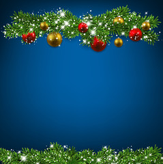 Christmas blue background with fir branches.