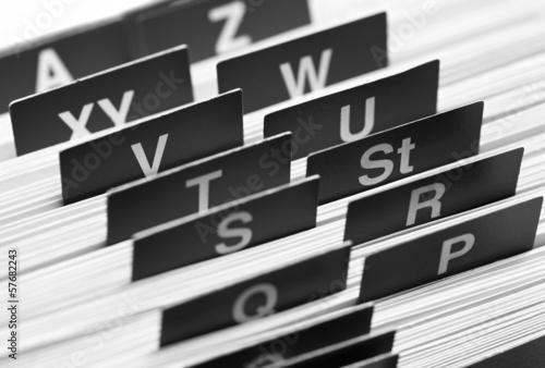 Leinwanddruck Bild Register, Kartei, Adressbuch.