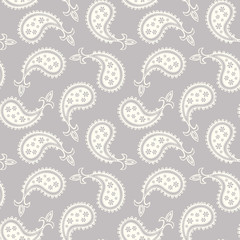 Seamless grey paisley pattern background