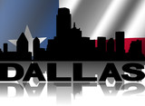 Dallas skyline text reflected rippled Texan flag illustration