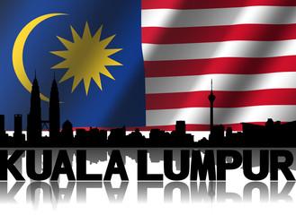 Kuala Lumpur skyline text reflected Malaysian flag illustration