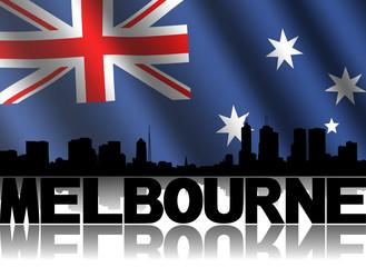 Melbourne skyline text rippled Australian flag illustration