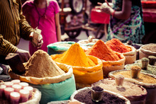 """Постер, картина, фотообои """"Traditional spices and dry fruits in local bazaar in India."""""""