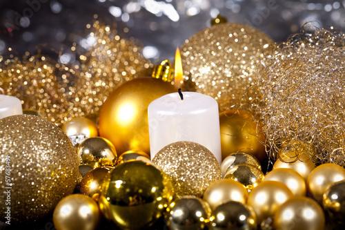 canvas print picture festliche goldene weihnachtsdekoration im kerzenlicht