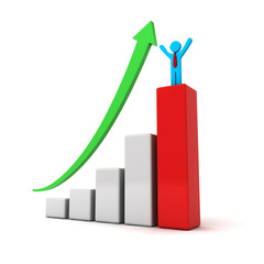 Business man standing on top of successful graph concept