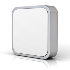 Blank square button chrome metal frame on white with reflection