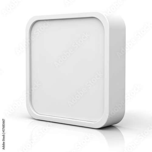 Blank 3d square button or frame on white with reflection