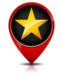 Glossy, Golden Star in red map marker.