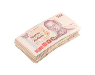 stack of Thai one hundred type banknotes on white background
