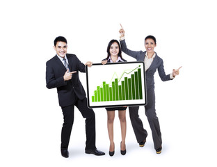 Business team holding growth graph