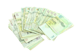 Thai money on white background