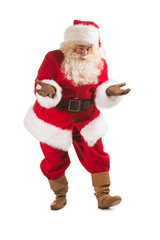 Happy Christmas Santa Claus with a funky welcome gesture