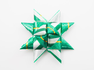 Green gift star bows with ribbons
