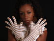Attractive Young Black Woman Portrait with Gloves