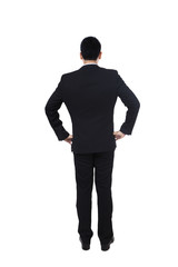 Young businessman back view