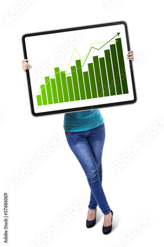 Woman with growth graph