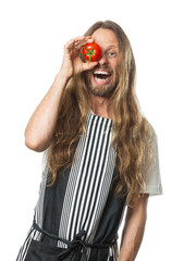 Silly hippie man with a tomato over his eye isolated on white.