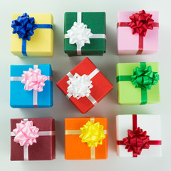 Various colour gift boxes