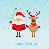 Santa Claus with Christmas tree and reindeer