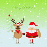 Santa Claus and a deer with Christmas tree