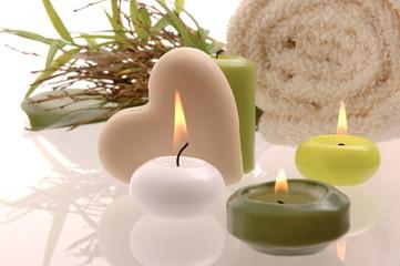 Wellness Herz Kerze Badetuch