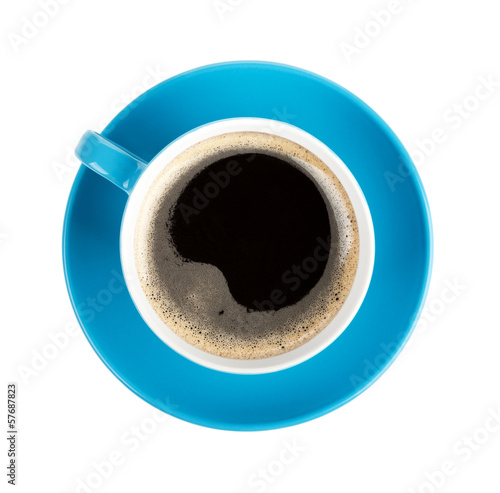 Deurstickers Thee Blue coffee cup