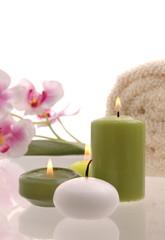 Wellness Orchideen Rosa Kerze Grün