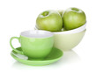 Green apples in fruit bowl and tea cup
