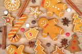 Fototapety Homemade various christmas gingerbread cookies