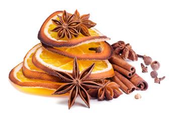 Christmas spices,anise , cinnamon  and  orange segments