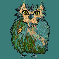 Owl in flip-flops, cute illustration for children