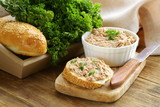 homemade meat snack сhicken liver pate with parsley