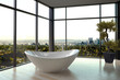Modern white bathtub against huge windows