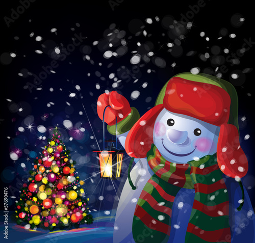 Vector snowman holding Christmas lantern on Chrismas tree backgr