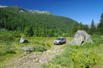 Off Road Car In Natural Park Rila Monastery, Bulgaria