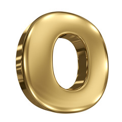 Letter O from gold solid alphabet