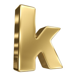 Letter k from gold solid alphabet