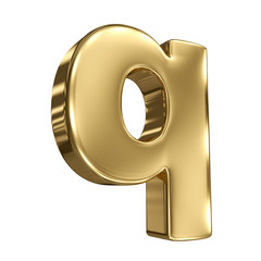 Letter q from gold solid alphabet