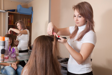 hair stylist works on woman hair