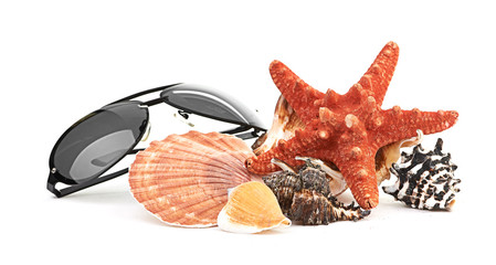 sun glasses on sea star and shell